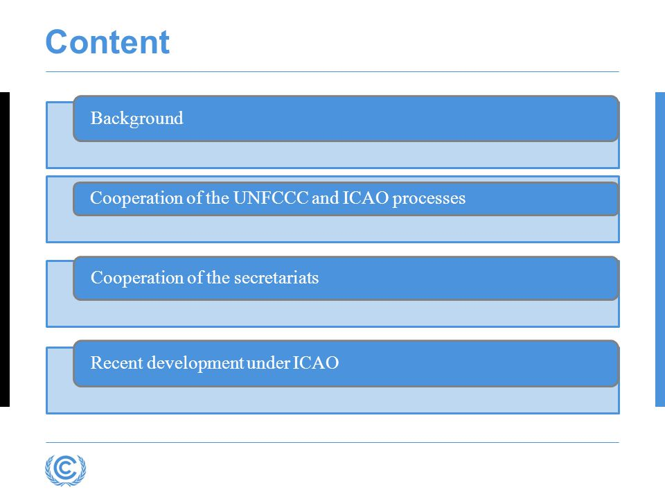 Content Background Cooperation of the UNFCCC and ICAO processes