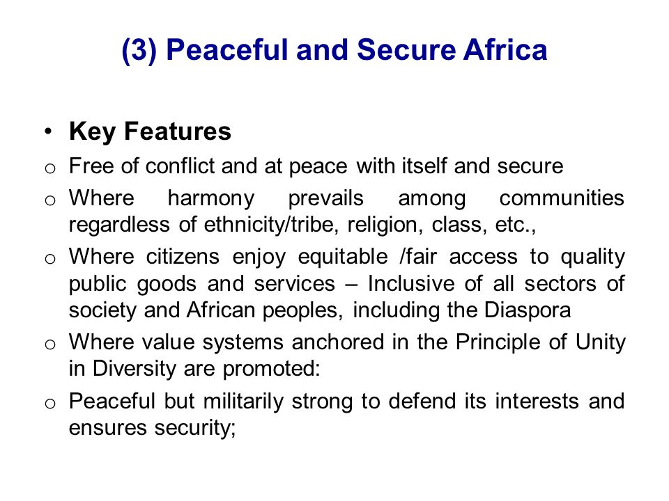 (3) Peaceful and Secure Africa