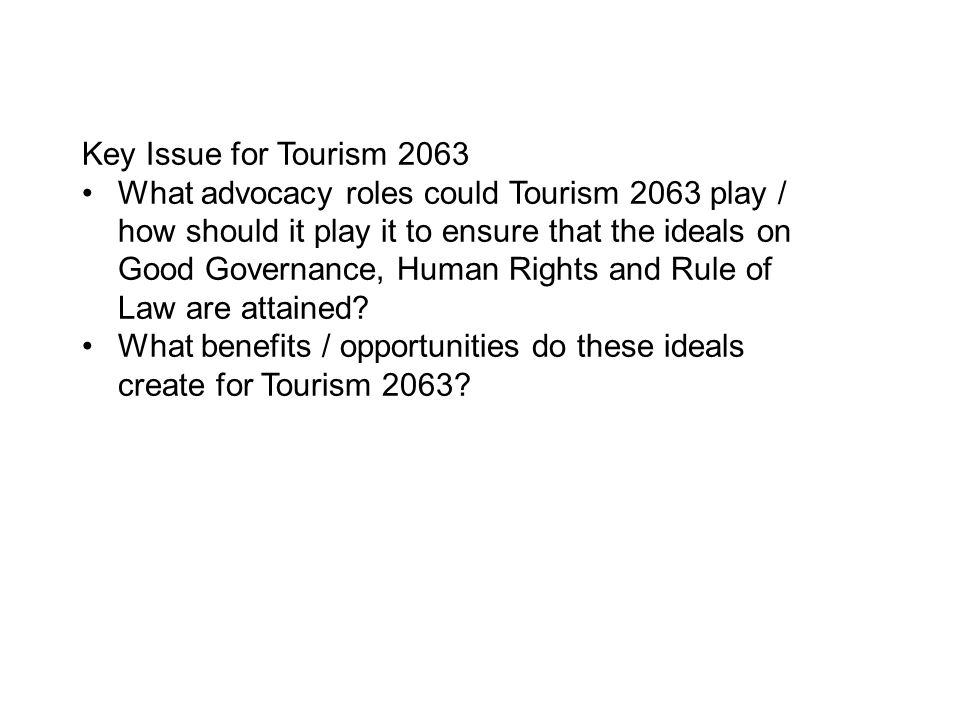Key Issue for Tourism 2063