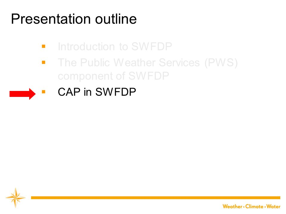 Presentation outline Introduction to SWFDP