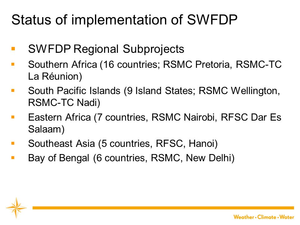 Status of implementation of SWFDP