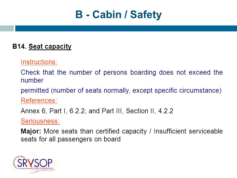 B - Cabin / Safety B14. Seat capacity Instructions: