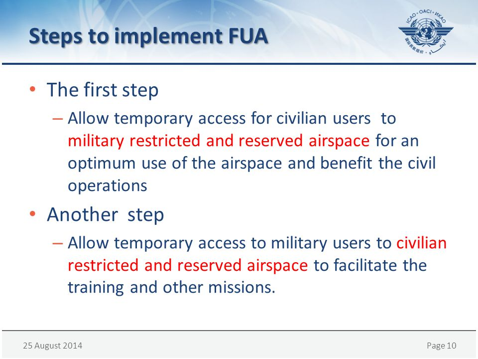 Steps to implement FUA The first step Another step