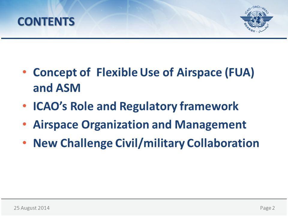 CONTENTS Concept of Flexible Use of Airspace (FUA) and ASM. ICAO's Role and Regulatory framework.
