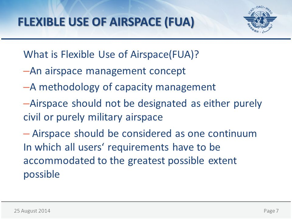 FLEXIBLE USE OF AIRSPACE (FUA)