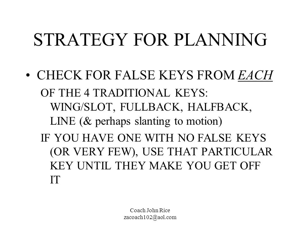 STRATEGY FOR PLANNING CHECK FOR FALSE KEYS FROM EACH