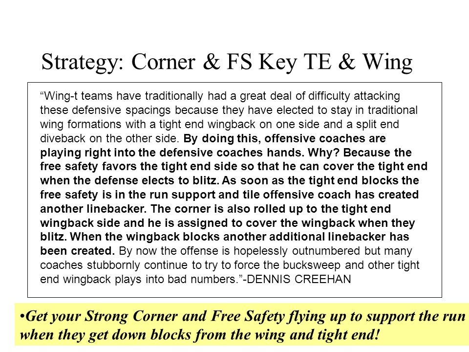 Strategy: Corner & FS Key TE & Wing