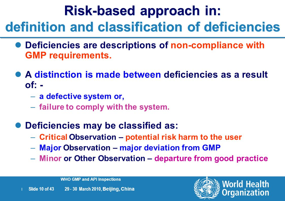 Risk-based approach in: definition and classification of deficiencies