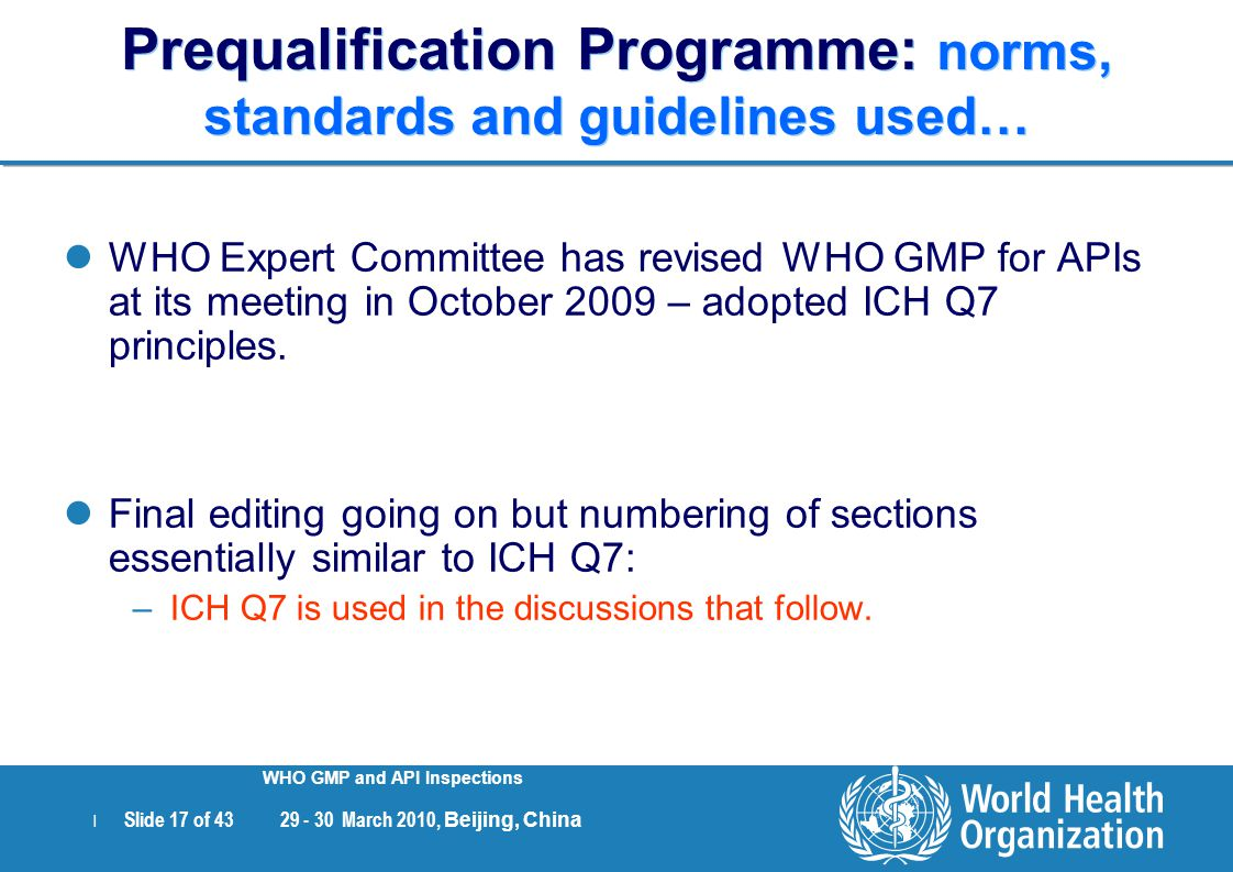 Prequalification Programme: norms, standards and guidelines used…