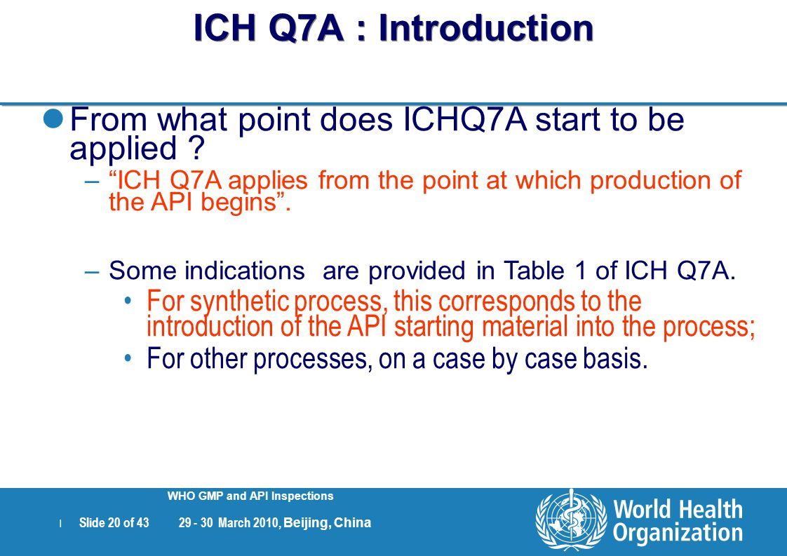 ICH Q7A : Introduction From what point does ICHQ7A start to be applied ICH Q7A applies from the point at which production of the API begins .