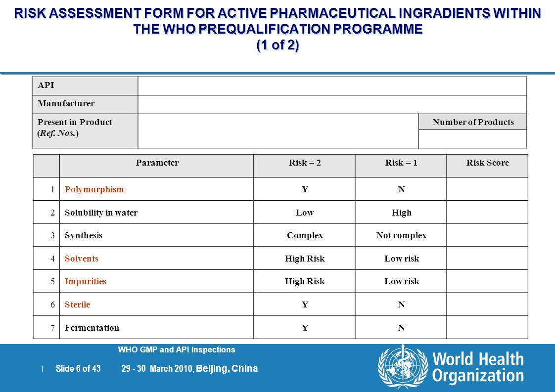 RISK ASSESSMENT FORM FOR ACTIVE PHARMACEUTICAL INGRADIENTS WITHIN THE WHO PREQUALIFICATION PROGRAMME (1 of 2)