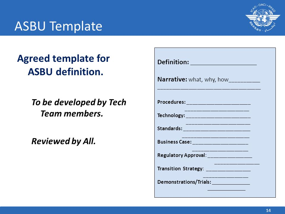 ASBU Template Agreed template for ASBU definition.