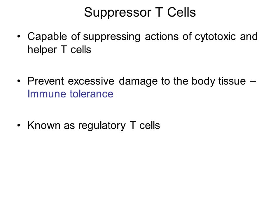 Suppressor T Cells Capable of suppressing actions of cytotoxic and helper T cells. Prevent excessive damage to the body tissue – Immune tolerance.