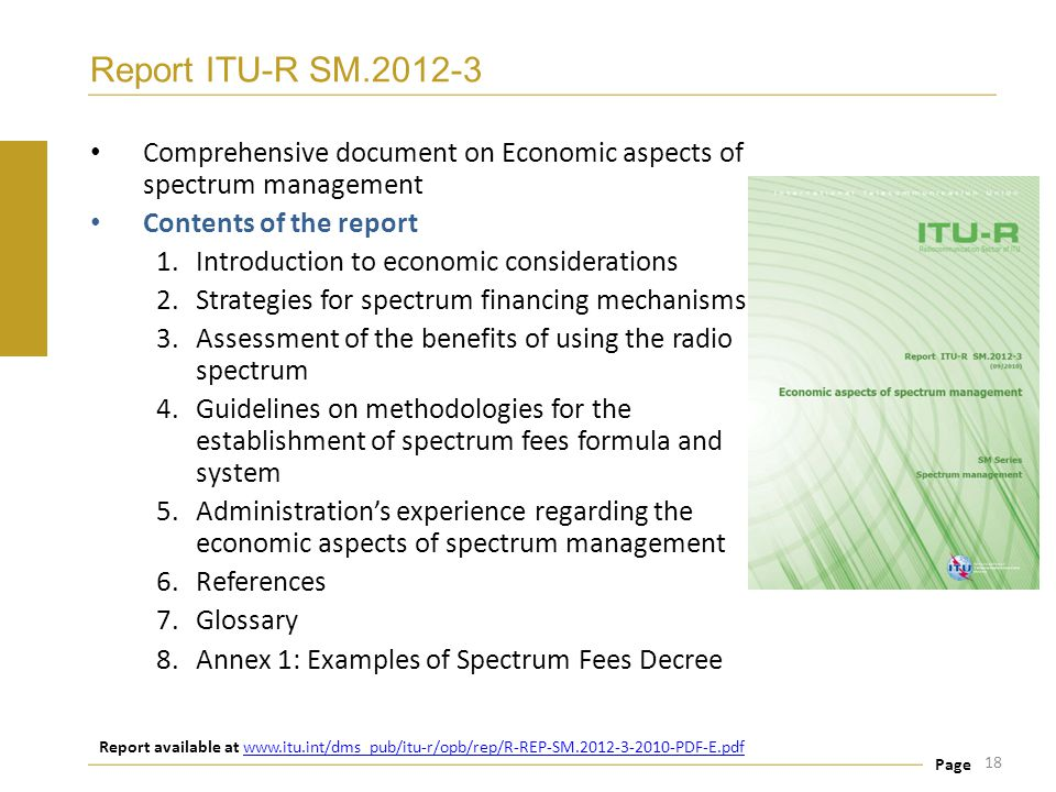 Report ITU-R SM.2012-3 Comprehensive document on Economic aspects of spectrum management. Contents of the report.