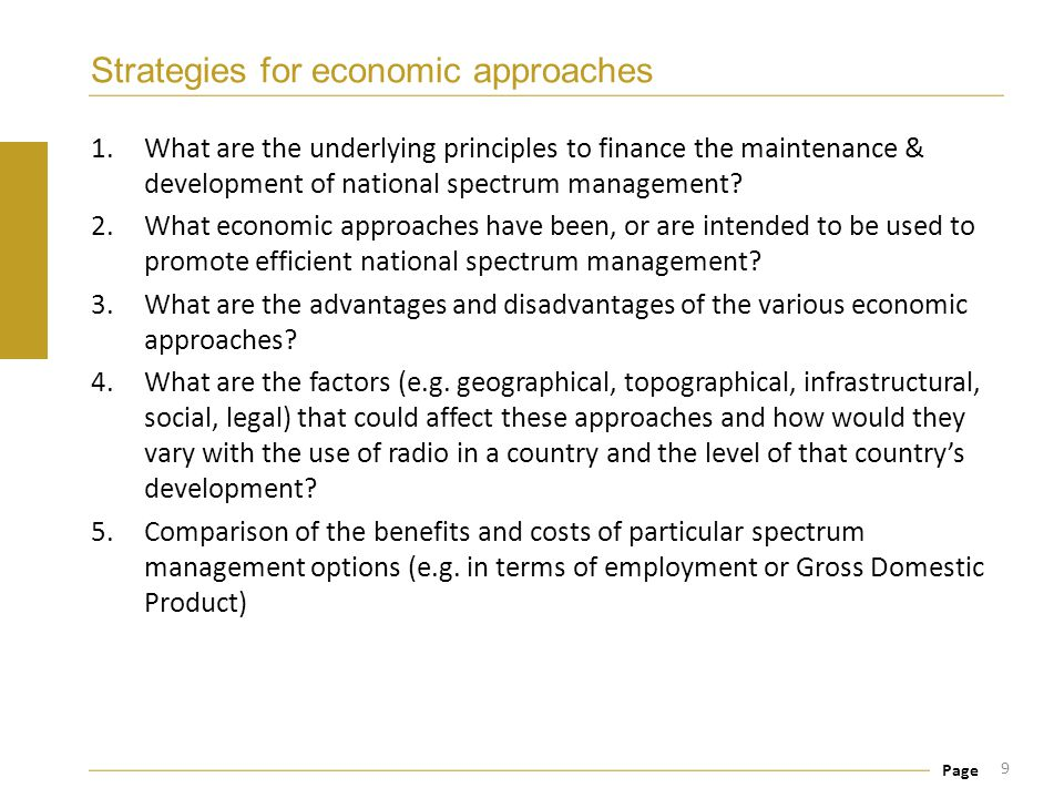Strategies for economic approaches