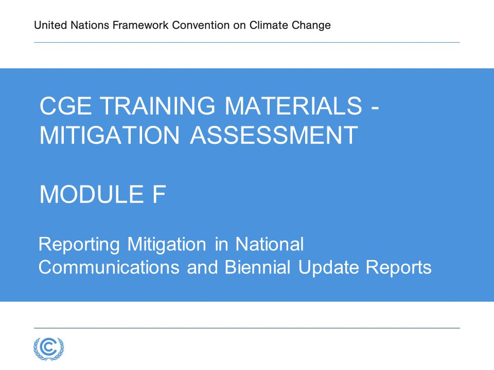 CGE Training materials - Mitigation Assessment Module F