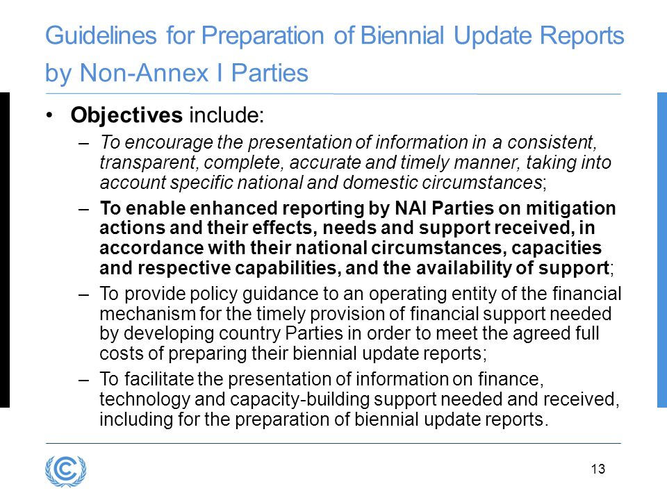 Guidelines for Preparation of Biennial Update Reports by Non-Annex I Parties
