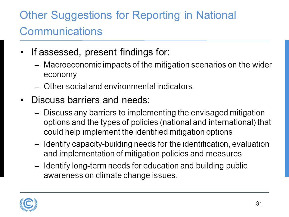 Other Suggestions for Reporting in National Communications