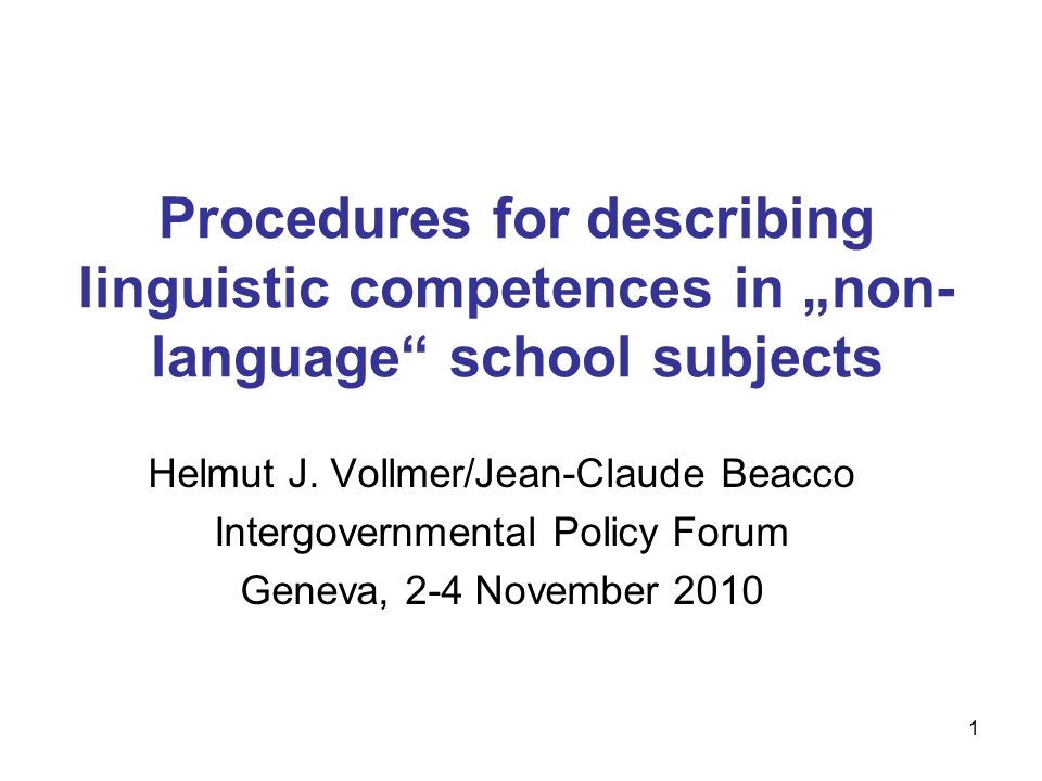 "Procedures for describing linguistic competences in ""non-language school subjects"