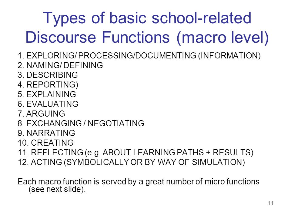 Types of basic school-related Discourse Functions (macro level)