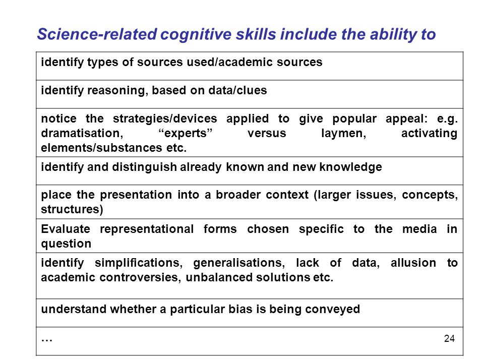 Science-related cognitive skills include the ability to
