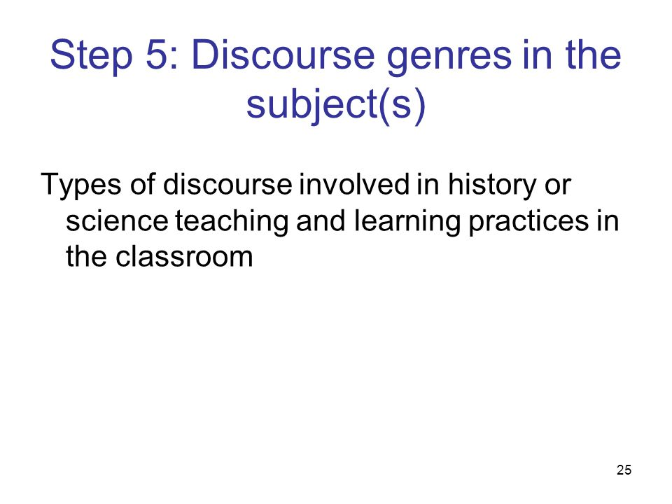 Step 5: Discourse genres in the subject(s)