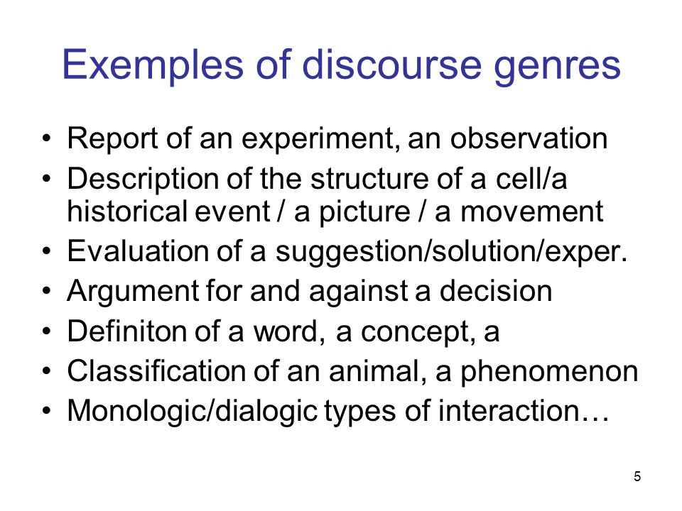 Exemples of discourse genres