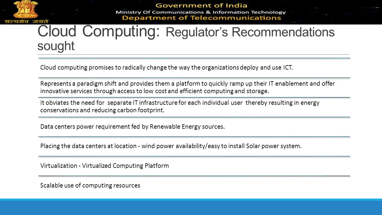 Cloud Computing: Regulator's Recommendations sought