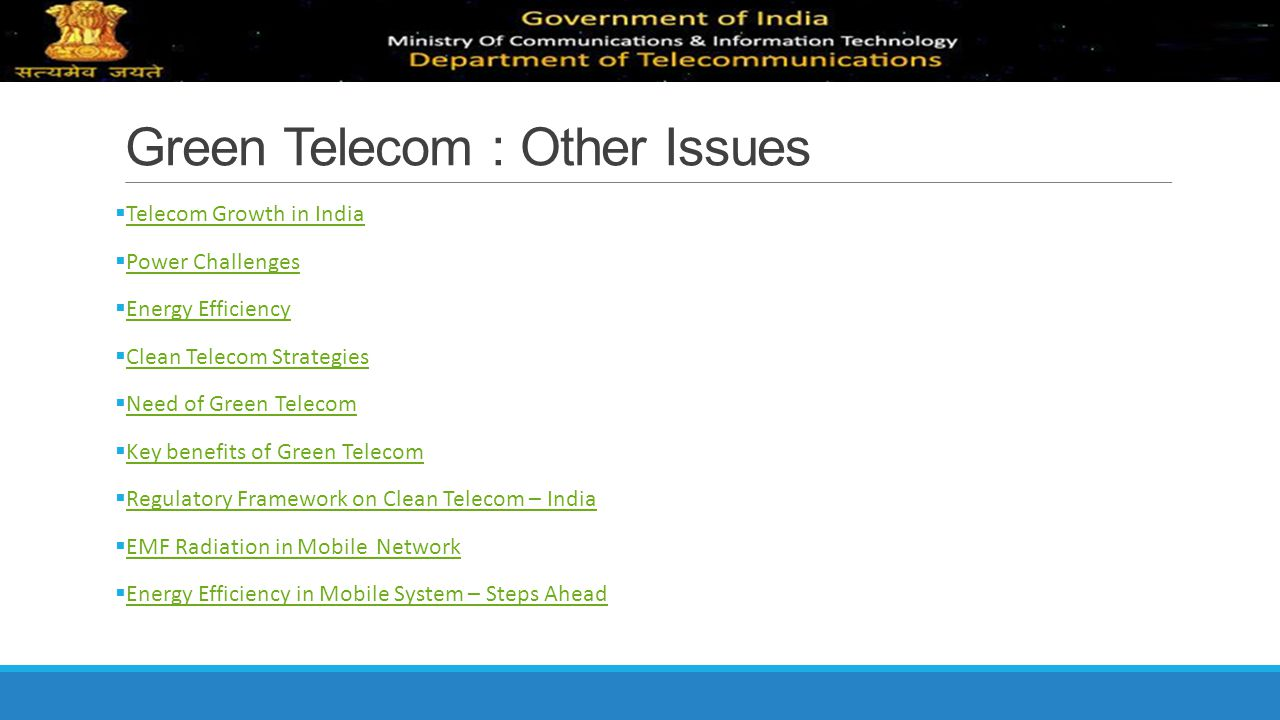 Green Telecom : Other Issues