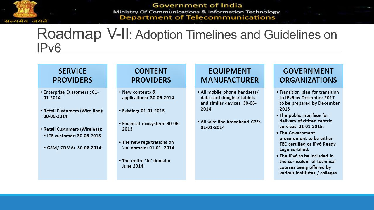Roadmap V-II: Adoption Timelines and Guidelines on IPv6