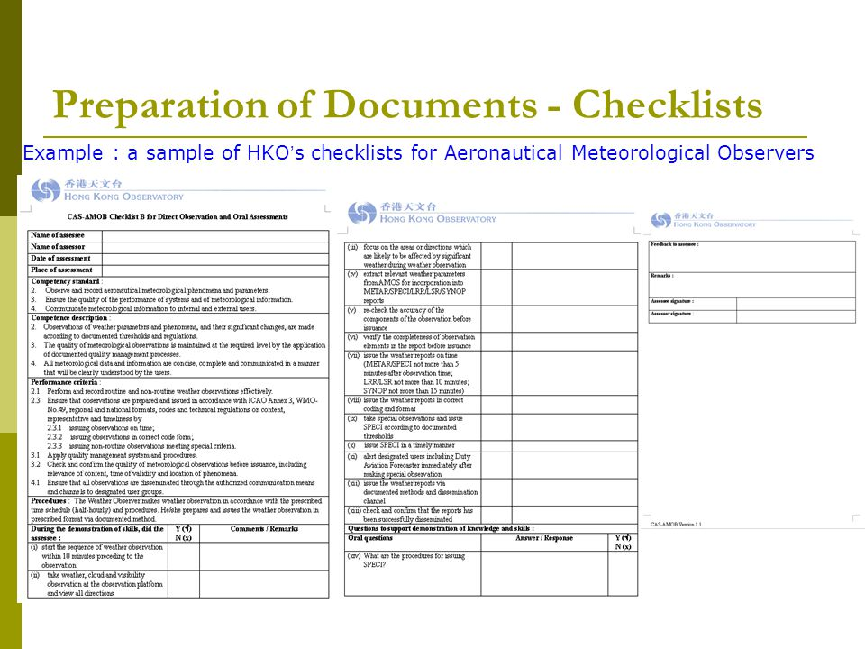 Preparation of Documents - Checklists