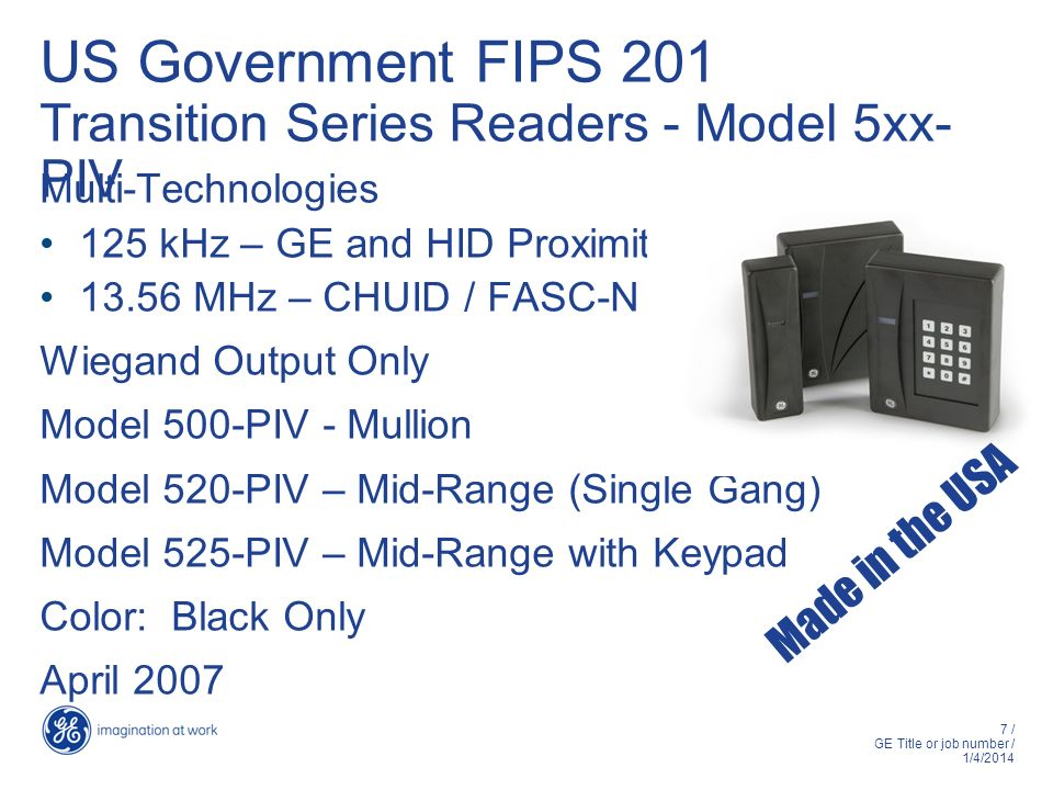 US Government FIPS 201 Transition Series Readers - Model 5xx-PIV