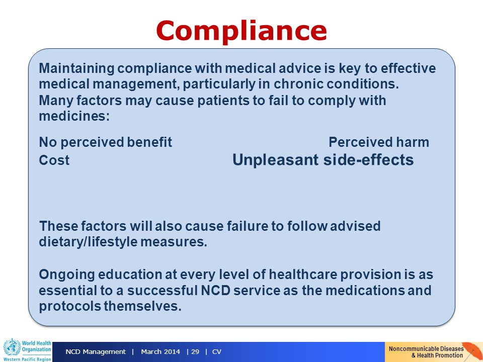 Compliance Maintaining compliance with medical advice is key to effective medical management, particularly in chronic conditions.