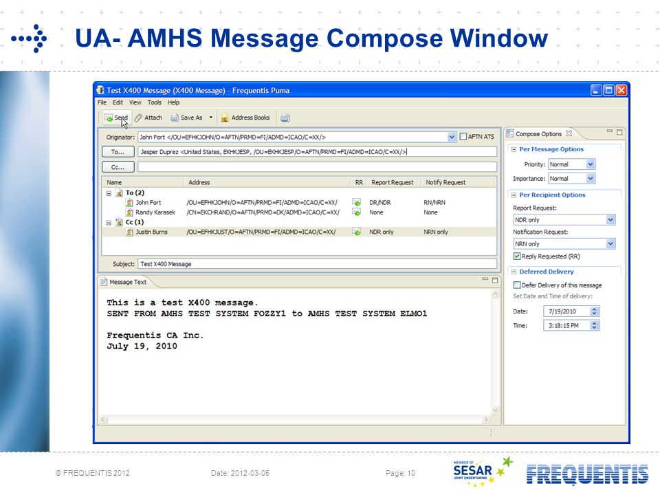 UA- AMHS Message Compose Window