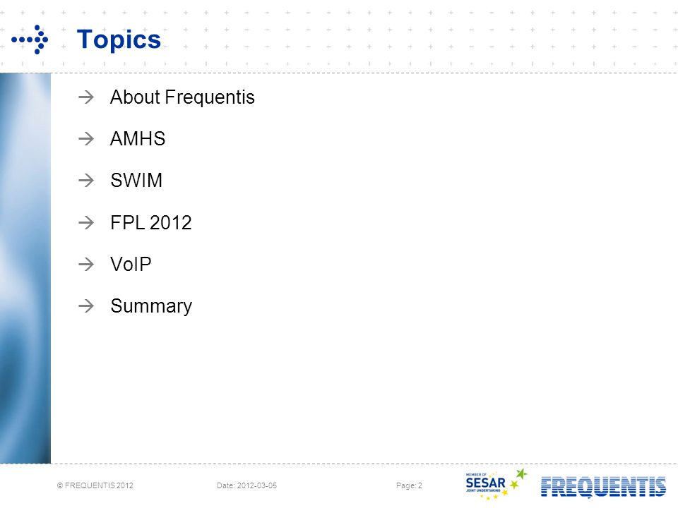 Topics About Frequentis AMHS SWIM FPL 2012 VoIP Summary