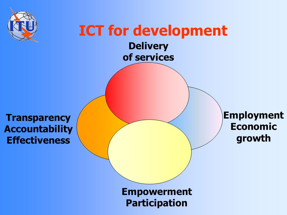 ICT for development Delivery of services Employment Economic growth