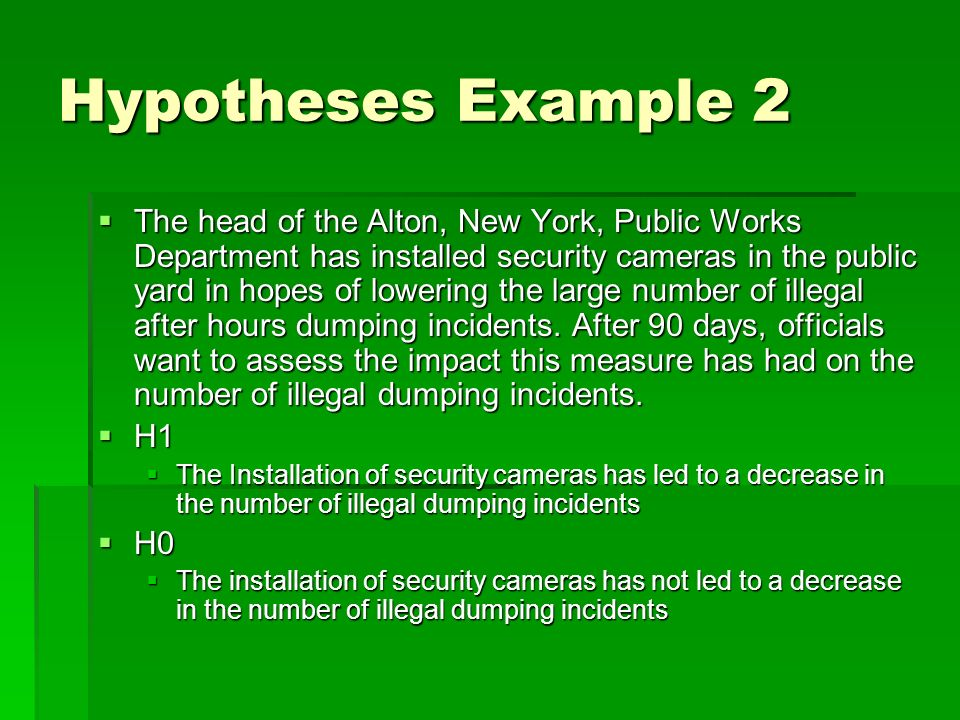 Hypotheses Example 2