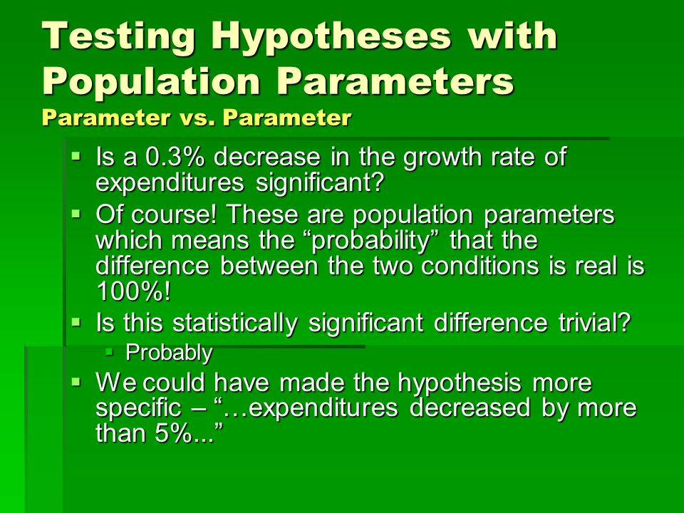 Testing Hypotheses with Population Parameters Parameter vs. Parameter