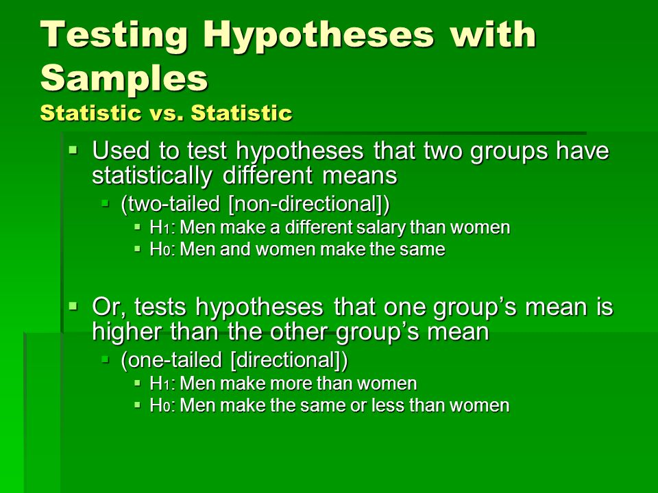 Testing Hypotheses with Samples Statistic vs. Statistic