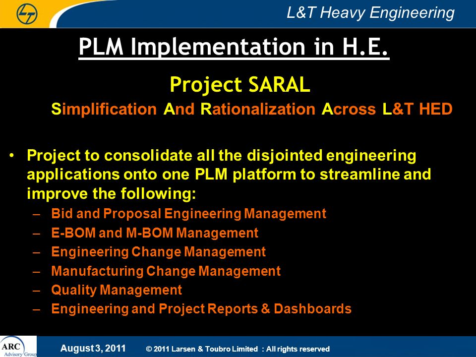 PLM Implementation in H.E.