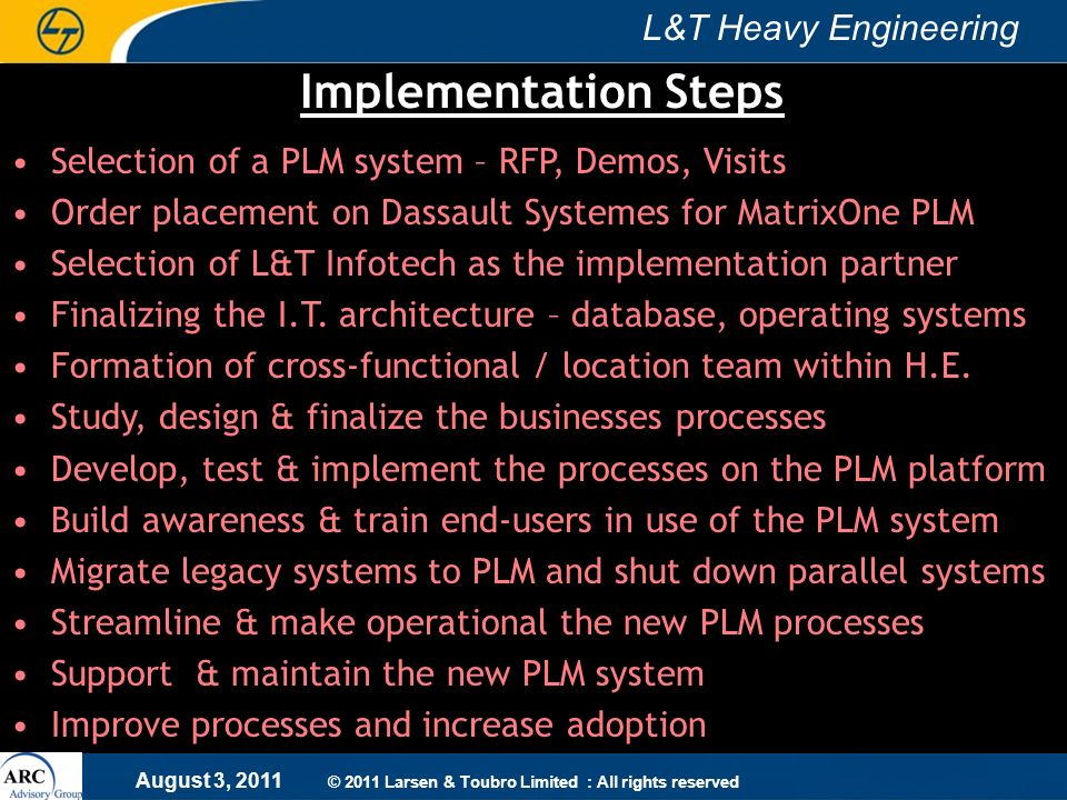 Implementation Steps Selection of a PLM system – RFP, Demos, Visits