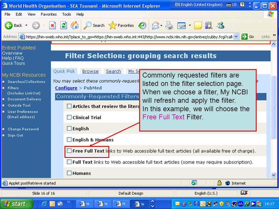 Commonly requested filters are listed on the filter selection page