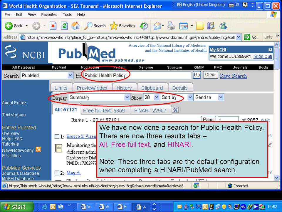 We have now done a search for Public Health Policy