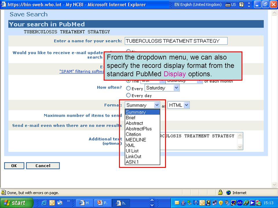 From the dropdown menu, we can also specify the record display format from the standard PubMed Display options.