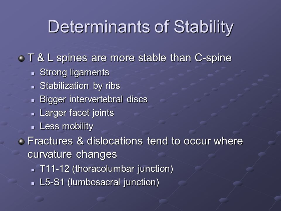 Determinants of Stability