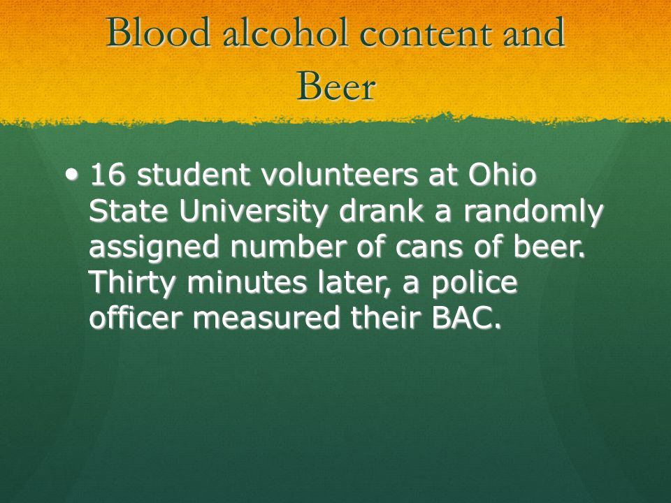 Blood alcohol content and Beer