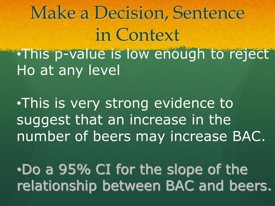 Make a Decision, Sentence in Context