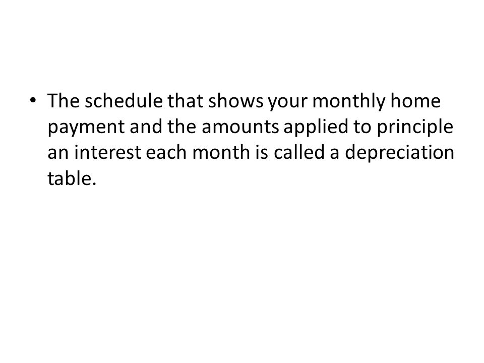 The schedule that shows your monthly home payment and the amounts applied to principle an interest each month is called a depreciation table.
