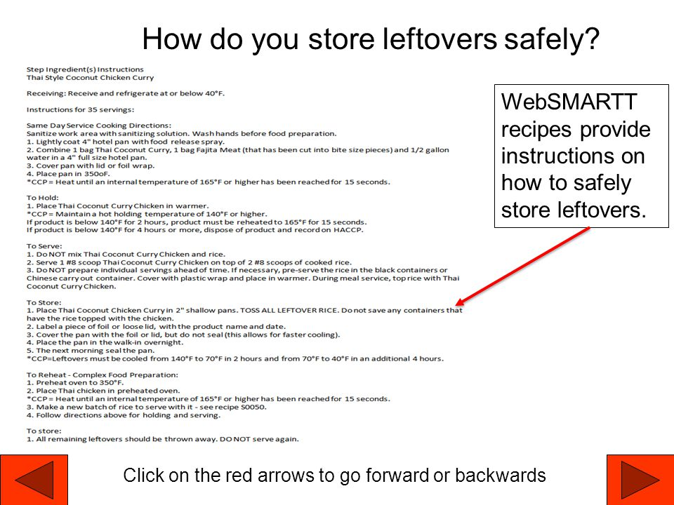 How do you store leftovers safely