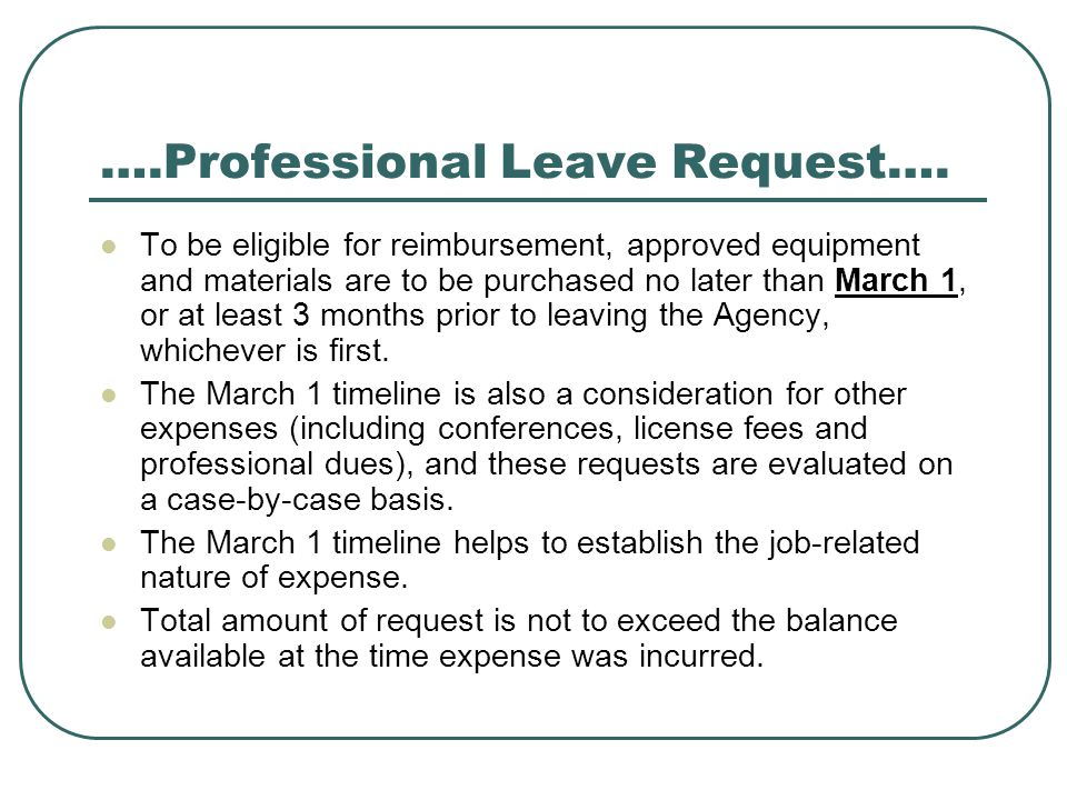 ….Professional Leave Request….